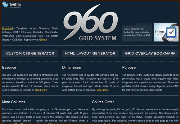 960 Grid System Webseite