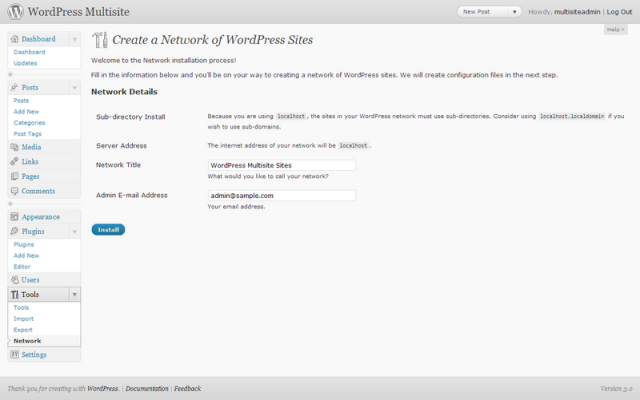 Wordpress-Multisite Installation