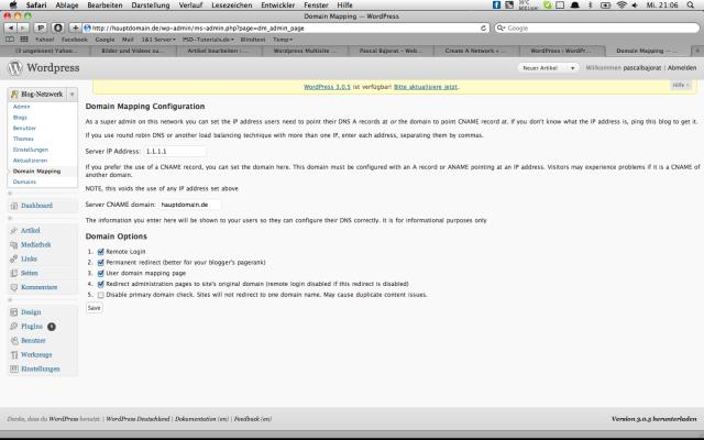 Wordpress-MultiSite und Domain Mapping