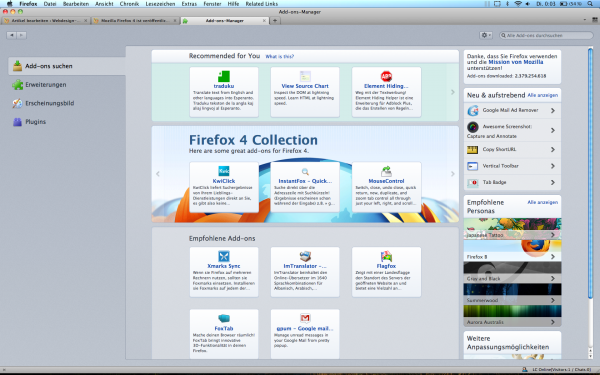 Mozilla Firefox 4 - Add-On Manager