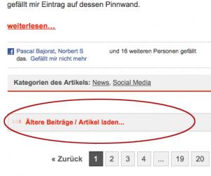 Wordpress Artikel via AJAX nachladen