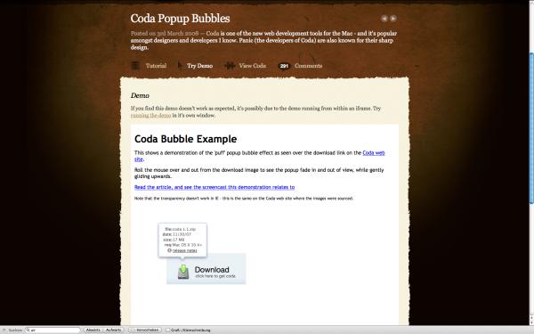 Coda Popup Bubbles