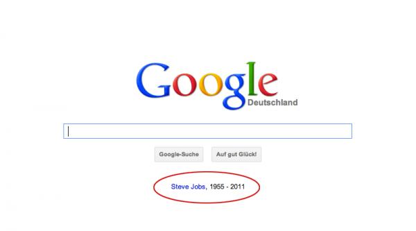 Steve Jobs auf Google Startseite