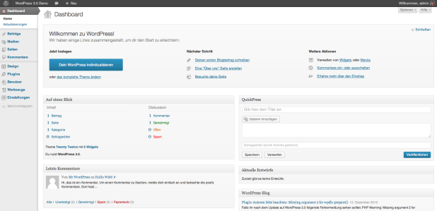 WordPress 3.5 Dashboard