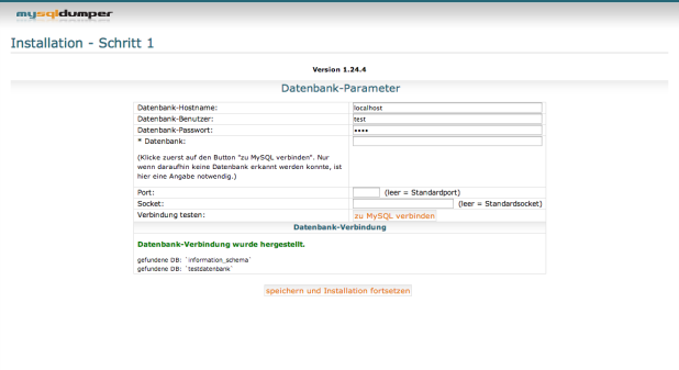MySQLDumper Installation - Schritt 3
