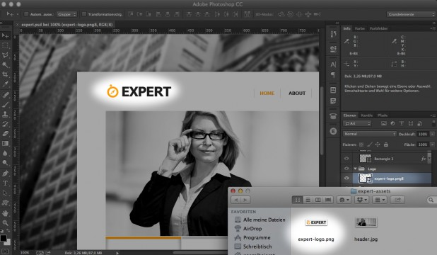 Adobe Bild-Asset Generator Assistent in Photoshop CC