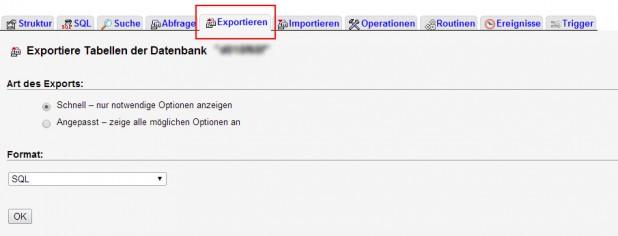 Schritt 4. Rufe den Menüreiter Exportieren auf und exportiere die Tabellen
