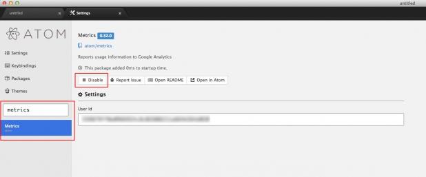 Atom: Google Analytics deaktivieren