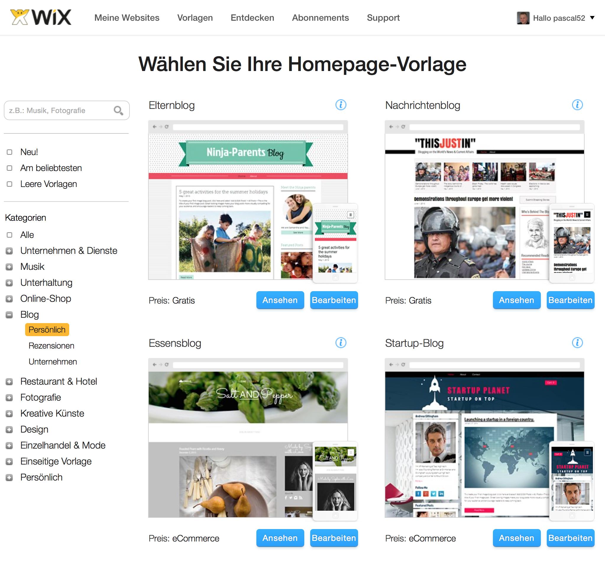 Wixx Vorlage