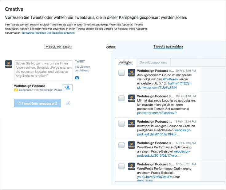 Twitter Ads - Tweet Auswahl