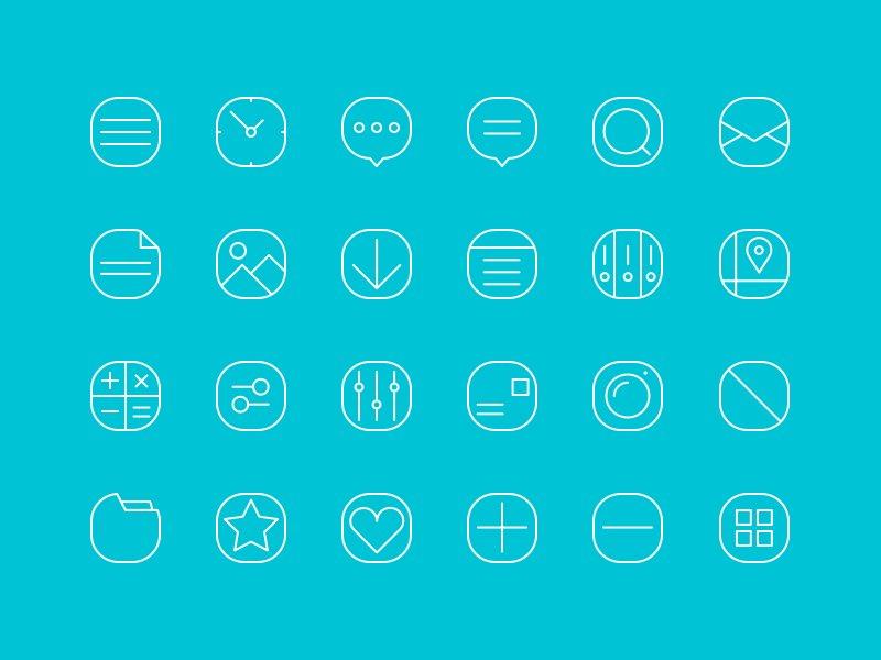 20 Line-Icons für Web und UI Design