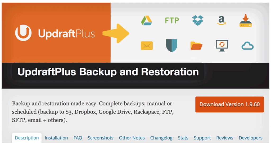 7. UpdraftPlus – WordPress Backup and Restoration