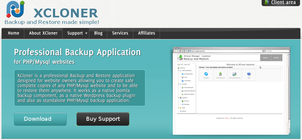 9. XCloner – Backup and Restore