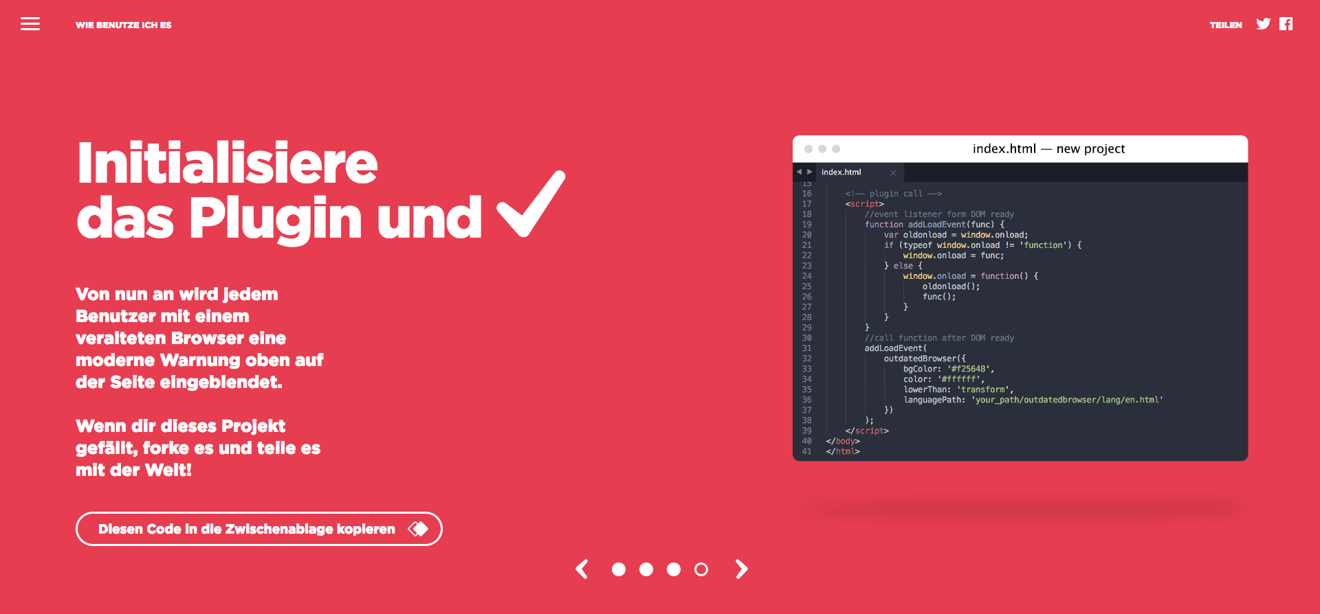 Funktion von Outdated Browser