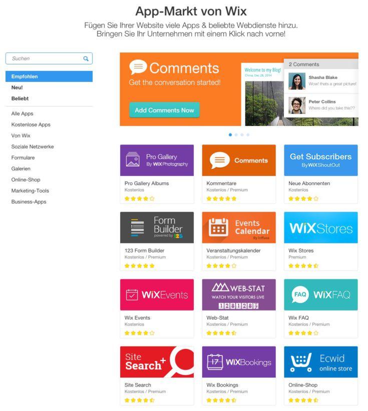 Wix WebApps - Webseite und Plug-ins direkt vom Profi